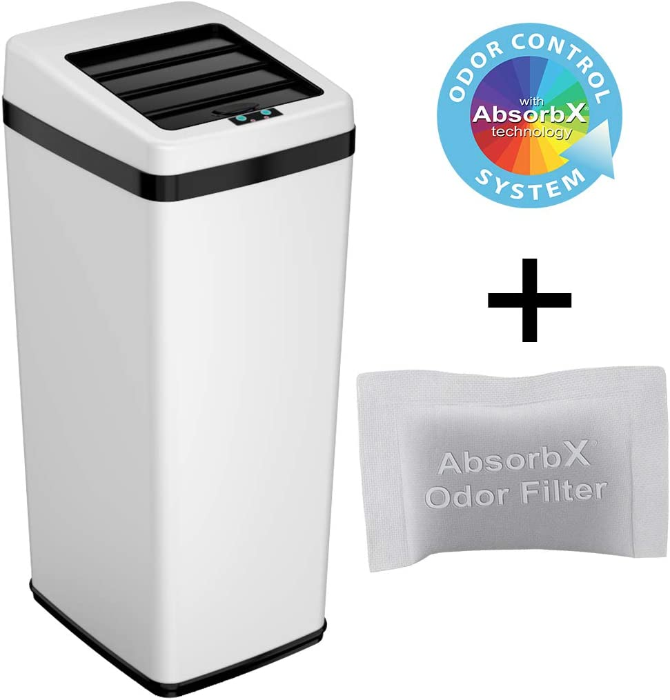 iTouchless 14 Gallon Sliding Lid Touchless Sensor Trash Can Garbage Bin, Steel - White