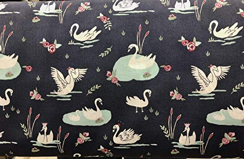 Swan Lake Navy Tiers or Curtain Panels 43 Inches Wide x 24 Inches Long or Choose 36, 45, 54, 63, 72, 84 Inches Long
