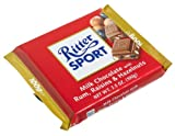 Ritter Sport Milk Chocolate with Rum, Raisins & Hazelnuts (Pack of 12)
