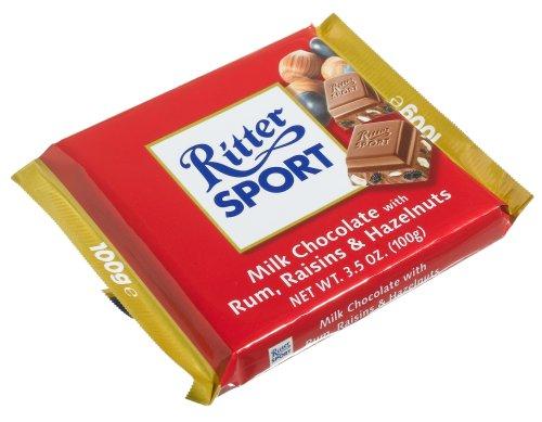 Ritter Sport Milk Chocolate with Rum, Raisins & Hazelnuts  (Pack of 12)