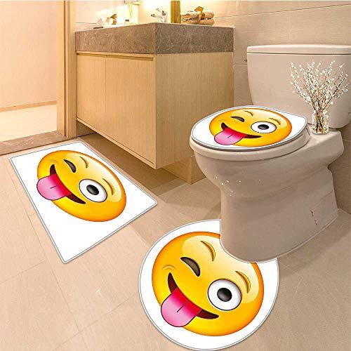 MikiDa Soft Toilet Rug 3 Pieces Set Technologic Smiley Flirty Sarcastic Face with Tongue Print Yellow Customized Super Soft Plush