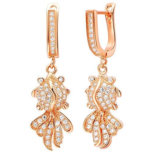 Onefeart Rose Gold Plated Stud Earrings for Women Girls White Crystal Goldfish Dangle Earrings 11x38MM - 14k Goldfish Earrings