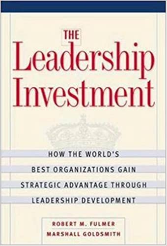 The Leadership Investment How The World S Best Organizations Gain Strategic Advantage Through Leadership Development Fulmer Robert M Goldsmith Marshall 9780814405581 Amazon Com Books