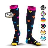 NEWZILL Compression Socks (20-30mmHg) for Men & Women - BEST Stockings for Running, Medical, Athletic, Edema, Diabetic, Varicose Veins, Travel, Pregnancy, Shin Splints. (Heart, Medium)