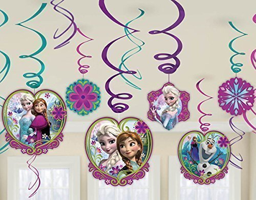 Diseny Frozen Party Foil Hanging Swirl Decorations / Spiral Ornaments (12 PCS)- Party Supply, Party Decorations (Decorations Party Frozen Disney)
