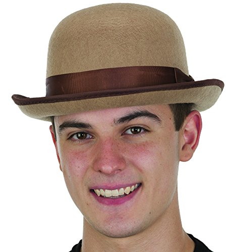 Charlie Chaplin Outfit (Men's Roaring 20's Tan Felt Derby Light Brown Bowler Top Hat Costume Accessory)