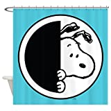 CafePress - Snoopy Blue And White - Decorative Fabric Shower Curtain
