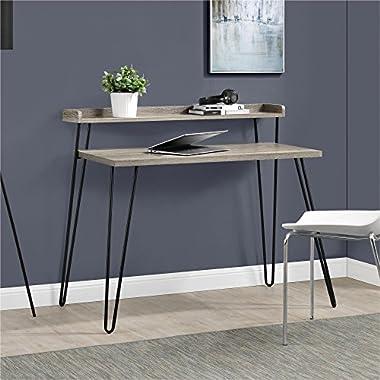 Altra Furniture Haven Retro Desk with Riser, Sonoma Oak/Gunmetal Gray