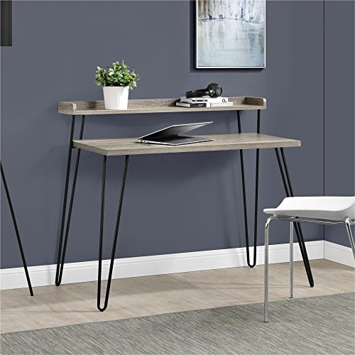 - Ameriwood Home Haven Retro Desk with Riser, Weathered Oak