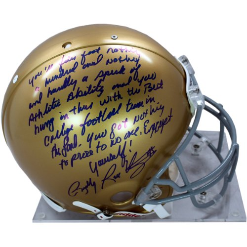 NCAA Notre Dame Fighting Irish Rudy Ruettiger Signed Authentic Full Size Helmet with Long ''5 Foot Nothing'' Inscription by Steiner Sports