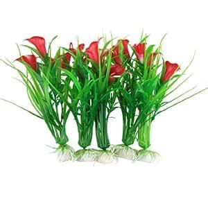 sourcing map hierba verde de plástico rojo decoración floral Pecera: Amazon.es: Productos para mascotas