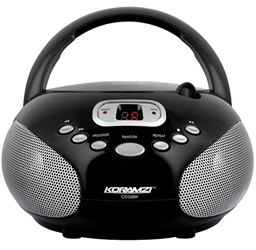 Koramzi Portable CD Boombox Stereo Sound System with Top-Loading CD Player, AM/FM Radio, and Aux Line-In- CD35(Black) by Koramzi