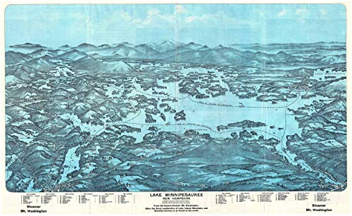 Historical 1903 Walker Antique Map and View of Lake Winnipesaukee, New Hampshire | 22in x 36in Fine Art Print