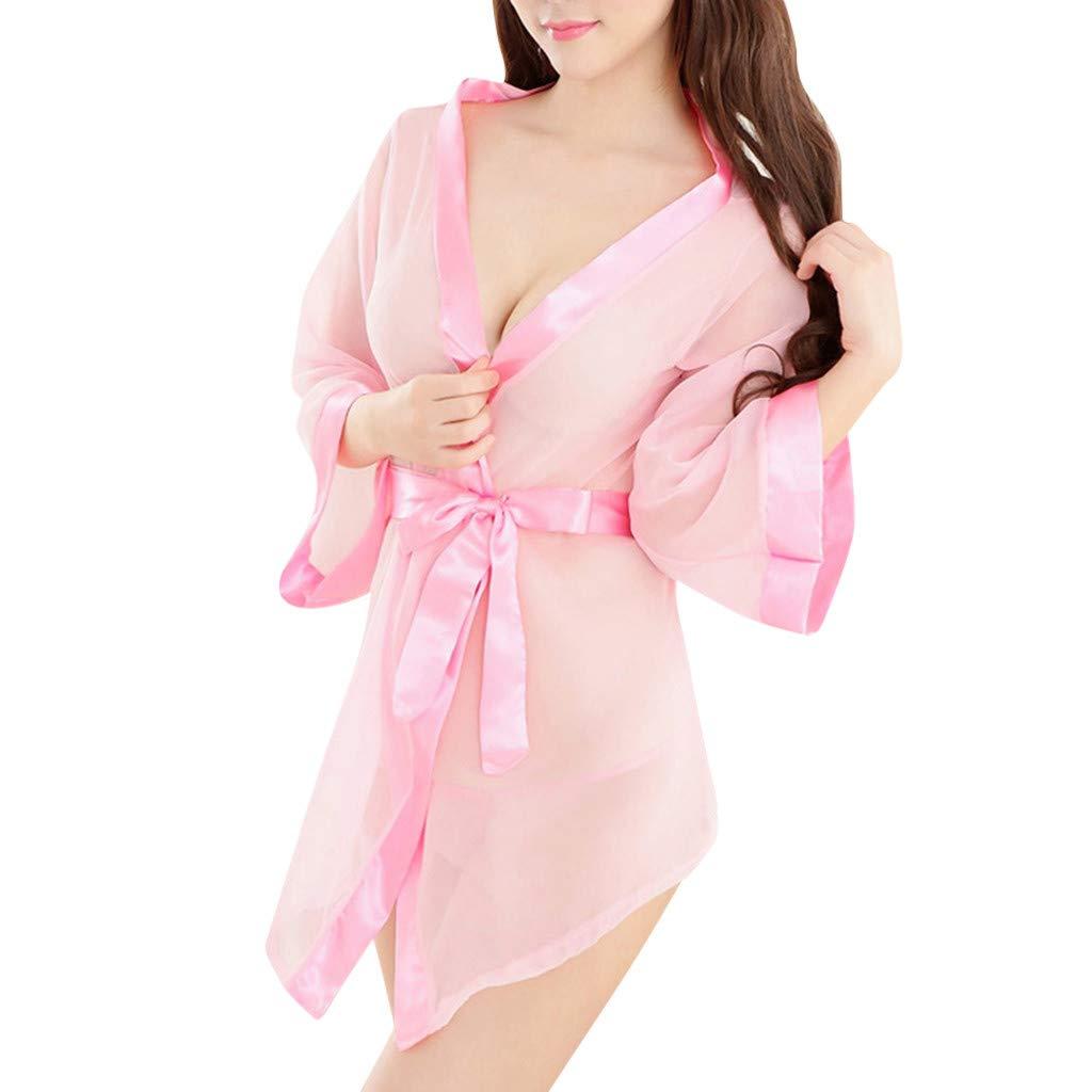 Pervobs Women Sexy Lingerie Loose Crotchless Babydoll Bodysuits Nightwear Temptation Underwear Lingerie with Tie-Waist(Free Size, Pink)