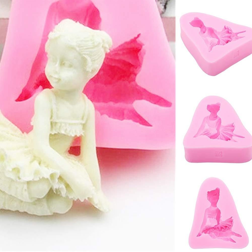 HshDUti Muffa di cottura di DIY della muffa del cioccolato di forma della ragazza di angelo della decorazione della torta dello strumento della decorazione della torta Pink
