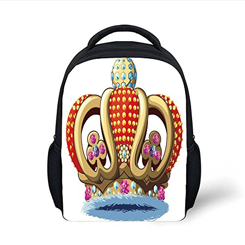 iPrint Kids School Backpack King,Royal Family Nobility Crown with Colorful Ornaments Image for Sovereign Print Decorative,Red Blue and Golden Plain Bookbag Travel Daypack