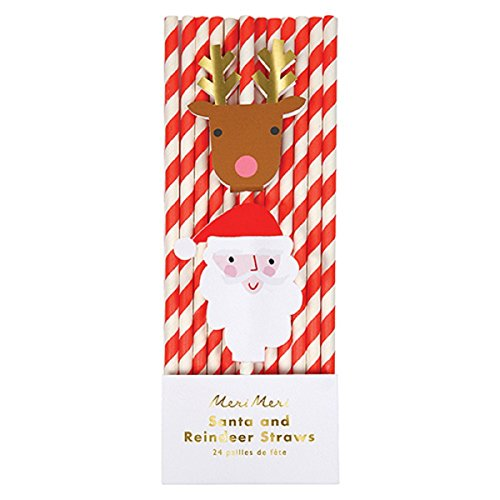 Santa and Reindeer Christmas Straws