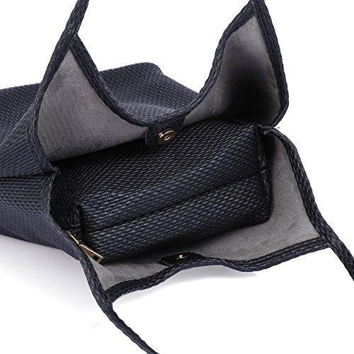 Black Women Fashion Tote Shoulder Roomy Satchel Handbag 6201849 Handle Bag Hobo Street Top Girls Bag PU Bag T5OqHaw