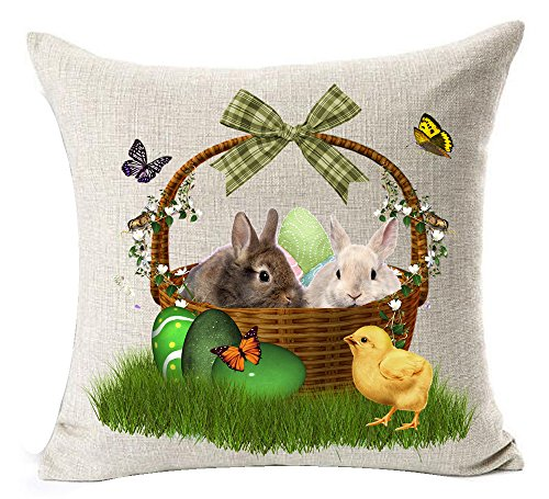 Happy Easter Adorable Bunny Rabbit Couple Yellow Chick Butterflies Color Egg Flowers Basket On The Grass Cotton Linen Throw Pillow Case Cushion Cover NEW Home Office Decorative Square 18X18 Inches