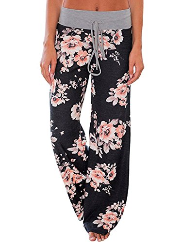 iChunhua Women's Comfy Stretch Floral Print Drawstring Palazzo Wide Leg Lounge Pants(XL,Black)