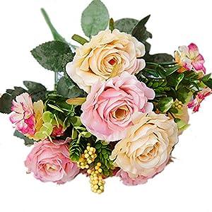 CHoppyWAVE 1Pc Artificial Rose Flower Fake Plant for Garden Party Decor DIY Bridal Bouquet - Champagne Pink 110