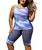 FARYSAYS Women's Sleeveless Top and Cropped Pants Two Piece Unitard Tankini Swimsuit, (US 18-20)XXL, Purple Grey
