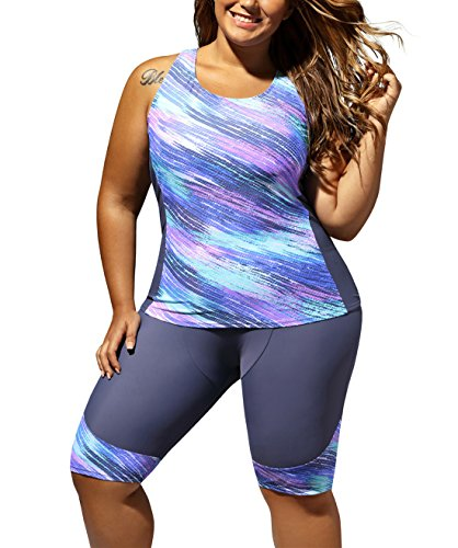 FARYSAYS Women's Sleeveless Top and Cropped Pants Two Piece Unitard Tankini Swimsuit, (US 26-28)4XL, Purple Grey