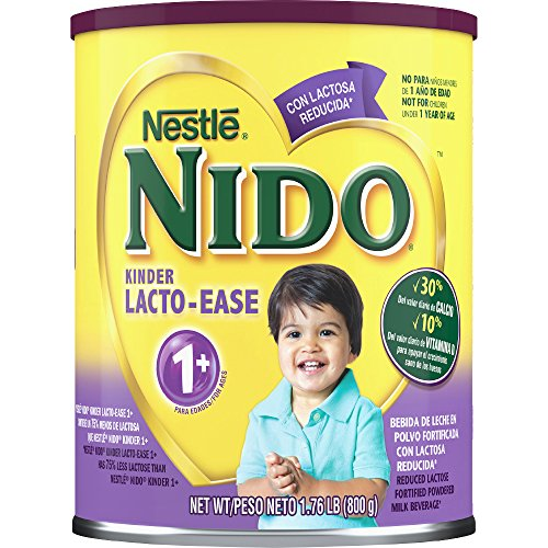 Nestle NIDO Kinder Lacto-Ease 1+ Reduced Lactoste Fortified Powdered Milk Beverage 1.76 lb. Canister
