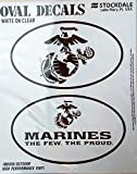 Marines 2-Pack EURO STYLE Vinyl Oval Home Auto Decals Sticker United States US Military Marine Corp