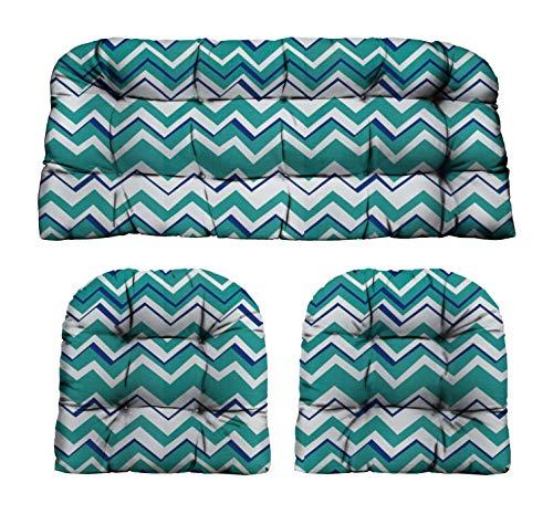 RSH Décor Indoor/Outdoor Wicker Cushions Two U-Shape and Loveseat 3 Piece Set (Light Mineral/Aqua Blue Chevron)