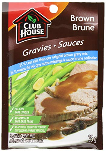 Club House Brown 25% Less Salt Gravy Mix, 25g/1oz, Imported from Canada}