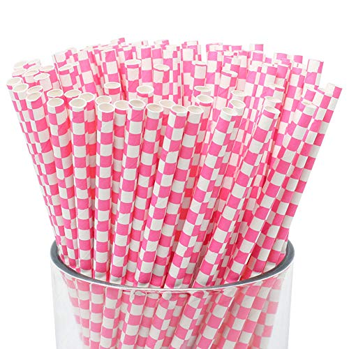 Just Artifacts - Decorative Paper Straws 100pcs - Checkered Pattern - Bubblegum Pink - Click for More Colors! Paper Straws and Décor for Birthdays, Weddings, Baby Showers and Life Celebrations!