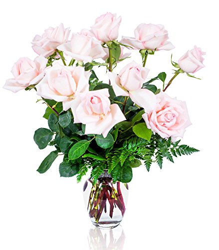 FLWERZ [Touch of Magnificence] One Dozen Classic Aromatic Beautiful Blooming Pink Roses Gorgeous Long Stem Fresh-Cut Hand-Made Luxury Bouquet Arrangement of Rose Flowers w/ Free clear 8 oz Vase