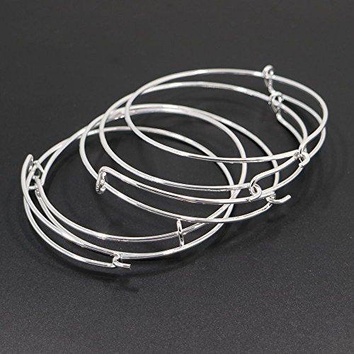 5pcs Shiny Silver White Expandable Wire Bangle Bracelet for Charms Adjustable for Stacking Charm Bracelets Bracelet Blanks