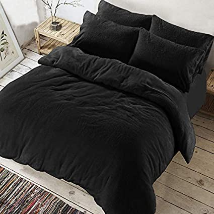 Super Soft Warm Cozy Bedding Set With Pillow Cases in single Double King Super king ARLINENS Teddy Bear Fleece Duvet Quilt cover Black, Double