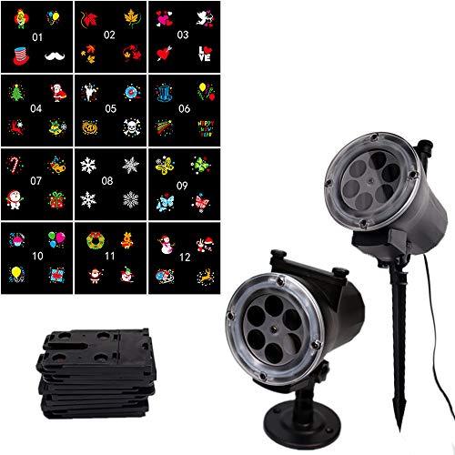 (Tuu Halloween LED Projector Light,12 Pattern Garden Lamp Waterproof Sparkling Projection Light for Halloween Festival)