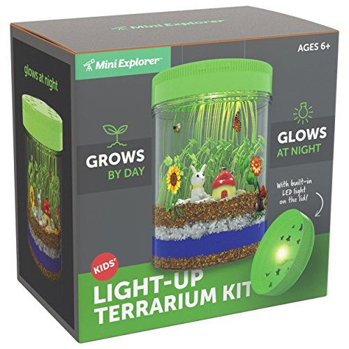 Mini Explorer Light-up Terrarium Kit for Kids with LED Light on Lid | Create Your Own Customized Mini Garden in a Jar That Glows at Night | Great Science Kits Gifts for Children | Kids Toys (Garden Craft Kit)
