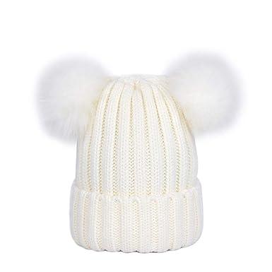 0f4689b9671 Lau s Bonnet Pompon Fourrure Fille Bonnet Hiver Chaud avec deux pompons  amovible Blanc
