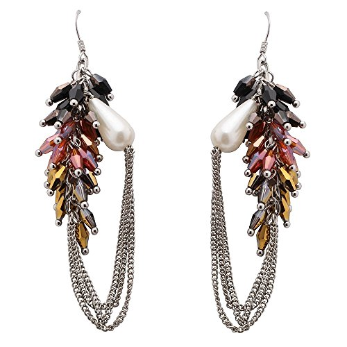 Austrian Crystal Simulate - Juran Austrian Crystal Jewelry Bohemia Stryle Stud Simulate Pearl Earrings