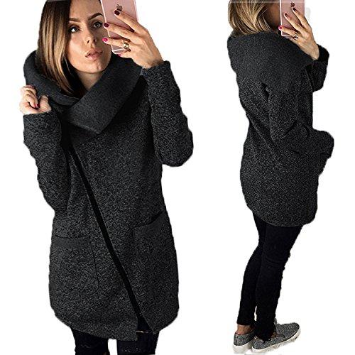 Tamaño Hoodie Cremallera el Chaqueta Larga Oblicua Oscuro Cálido Gran invierno otoño para Abrigo de Mujeres Sudadera Gris con BAINASIQI FAnvWv