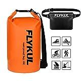 Flykul Waterproof Dry Bags Sets 2,10L Orange Waterproof Pouch&Black Waterproof Waist Pouch,Super Waterproof Protection Dry Bags 1 Adjustable Shoulder Strap,Perfect Boating,Swimming,Kayaking