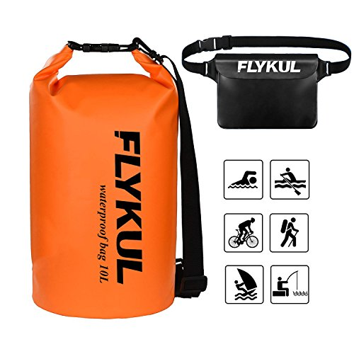 - Flykul Waterproof Dry Bags Sets of 2,10L Orange Waterproof Pouch&Black Waterproof Waist Pouch,Super Waterproof Protection Dry Bags 1 Adjustable Shoulder Strap,Perfect for Boating,Swimming,Kayaking