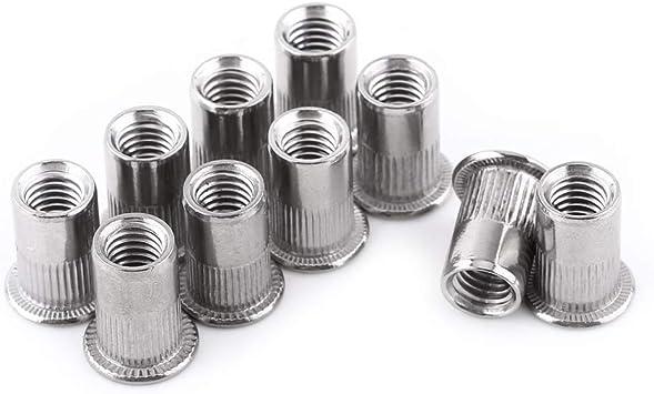 M4 Flat Head Metric Threaded Blind Rivet Nut Insert Rivnut Nutsert Screw Stainless Steel M3//M4//M5//M6//M8