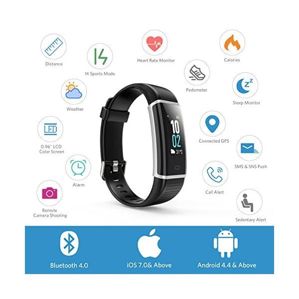 Montre Connectée, Bracelet Podometre Etanche IP68, Fitness Tracker d'Activité Connecté GPS avec Cardiofréquencemètre…