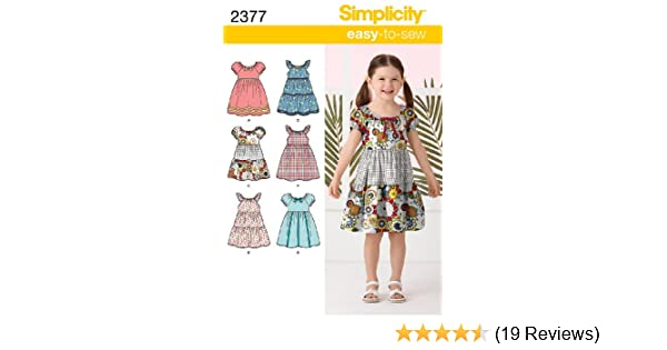 Amazon.com: Simplicity Easy-to-Sew Pattern 2377 Girls Dresses, Sizes 3-4-5-6-7-8: Arts, Crafts & Sewing