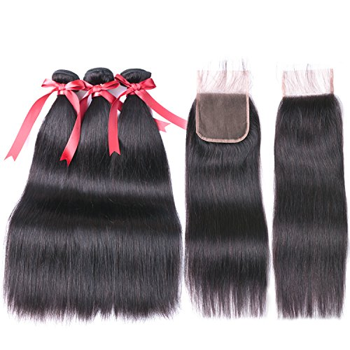 Brazilian Straight Hair 3 bundles 10A Unprocessed Brazilian Virgin Hair With a Free Part Lace Closure 100% Human Hair Weave 18 20 22+16inch Closure
