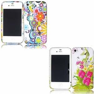 2 Pack Printed Gel Cubrir Caso Piel Para Apple iPhone 4 4S / Pink Flowers And Retro Circles