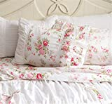FADFAY Shabby Pink Rose Floral Print Pillowcases Elegant Country Style Vintage Lace Ruffles Bedding Pillow Covers Standared Size 19'' x 29'' (Twin/Full/Queen, Bulgaria Rose)