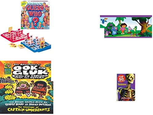 Dora Board Game The Explorer (Children's Gift Bundle - Ages 3-5 [5 Piece] - Guess Who? Board Game - Dora The Explorer Decorative Border - Ty Beanie Baby - Seaweed the Otter - The Adventures of Ook and Gluk Hardcover Book - Top)