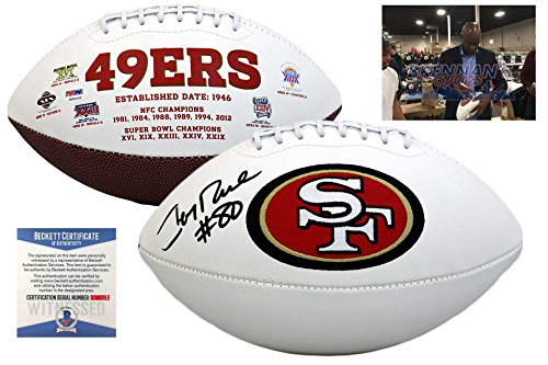 Jerry Rice Signed San Francisco 49ers Football - Beckett Autographed w/ Photo